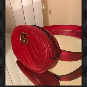 Gucci Mormont red leather belt bag